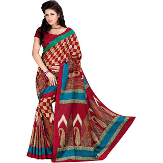 Prafful Cream-Maroon Bhagalpuri Silk Checkered Festive Wear Saree