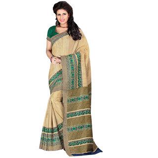 Prafful Cream Bhagalpuri Silk Floral Printed Festive Wear Saree
