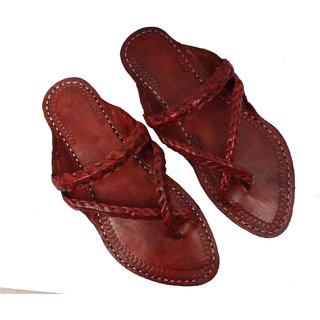 Sushito Ethnic Brown Pure Leather Kolhapuri Chappal For Women JSMKCF0089