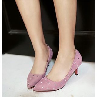 New Style Lady Ladies Light Pink Suede Shoes High Heel Pointed Toe Dress Shoes