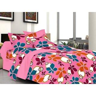 Valtellina Floral Design Pink Color TC-200 Double bedsheet  2 Pillow cover