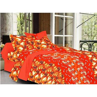 Valtellina Floral Design Orange Color TC-200 Double bedsheet  2 Pillow cover
