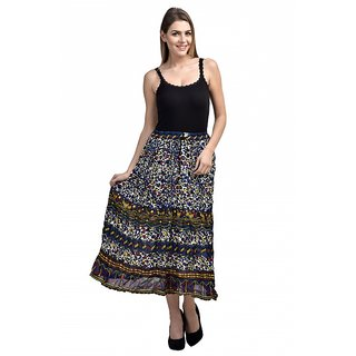 Klick2Style Exclusive Multicolor Printed Skirt SKT9011-Blue