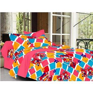 Valtellina Cartoon Design Multi Color TC-200 Double bedsheet  2 Pillow cover