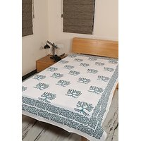 Rajrang Indian Designer White Green Cotton Bedsheet