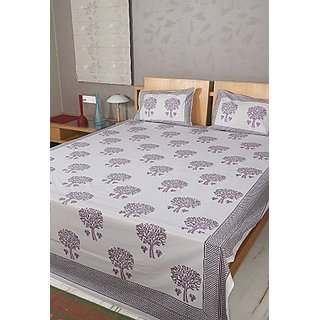 Rajrang Indian Designer Purple White Cotton Bedsheet  Design 5