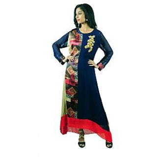 Aarshi Designer Georgette Partywear Mixed With Printed Georgette Heavy Work Yoke