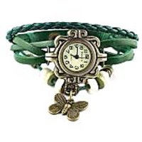 Round Dial Green Leather Strap Womens Quartz Watch