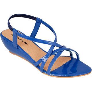 Bellafoz Blue  heeled sandals ]