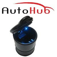 Auto Hub Designer Cigarette Ashtray With Led Lights For Car/Home/Office (Black)