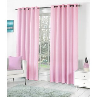 K Decor Pink Polyester Window Eyelet Stitch Curtain Feet (Combo Of 2)