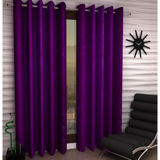 K Decor Purple Polyester Window Eyelet Stitch Curtain Feet (Combo Of 2)