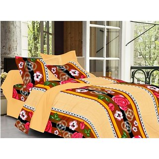 Valtellina Floral Design Beige Color TC-200 Double bedsheet  2 Pillow cover