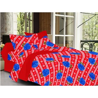 Valtellina Floral Design Red Color TC-200 Double bedsheet  2 Pillow cover
