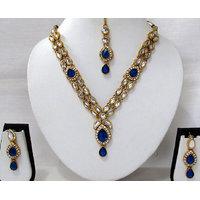 Dark Blue 2 line kundan drop necklace set