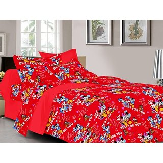 Valtellina Cartoon Design Red Color TC-200 Double bedsheet  2 Pillow cover