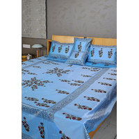 Rajrang Indian Designer Sky Blue Polydupion Bedsheet