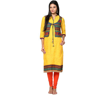 Prakhya Printed Womens Long straight cotton kurta-SW700YELLOW