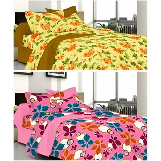 valtellina Combo of 2 Double Bed Sheets with 2 Pillow Covers