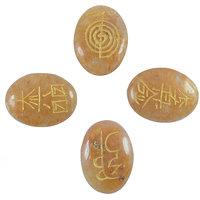 Golden Quartz Reiki Symbol Engraved Set (4pc)