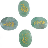 Green Aventurine ,Jade Reiki Symbol Engraved Set (4pc)