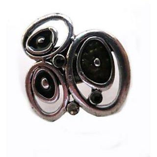 Chamakdamak Silver ring studded with black gems