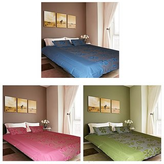 Akash Ganga Combo of 3 Cotton Double bedsheets with 6 Pillow Covers (F2)