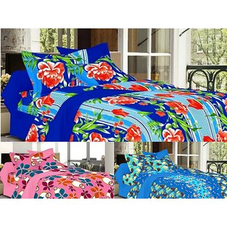 valtellina Combo of 3 Double Bed Sheets with 6 Pillow Covers