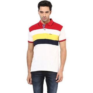Okane Red Half Sleeve Polo Neck Casual Wear T-shirts