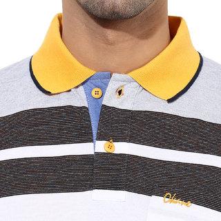 Okane Yellow Half Sleeve Polo Neck Casual Wear T-shirts