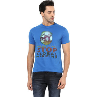 Okane Blue Half Sleeve Round Neck Casual Wear T-shirts