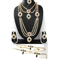 Maroon Green Stone kundan bridal necklace set