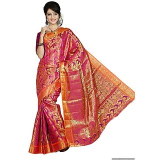 Women Kanchipuram Silk  Pink Saree With Blouse
