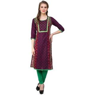 Prakhya Printed Womens Long straight cotton kurta-SW730PURPLE