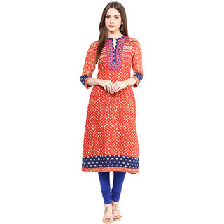 Prakhya Printed Womens Long straight cotton kurta-SW735APINK
