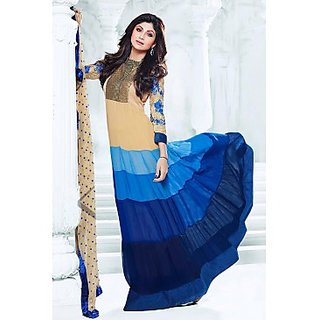 Bollywood Shilpa Shetty Faux Georgette Anarkali Suit In Blue And Beige Colour