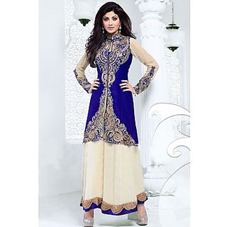 Bollywood Shilpa Shetty Faux Georgette Anarkali Suit In Blue And Cream Colour