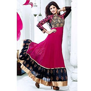 Bollywood Shilpa Shetty Faux Georgette Anarkali Suit In Magenta Colour