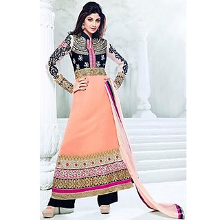 Bollywood Shilpa Shetty Faux Georgette Anarkali Suit In Peach And Black Colour