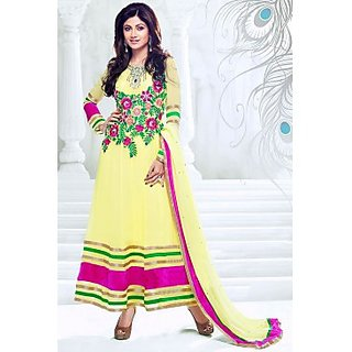 Bollywood Shilpa Shetty Faux Georgette Anarkali Suit In Yellow And Pink Colour