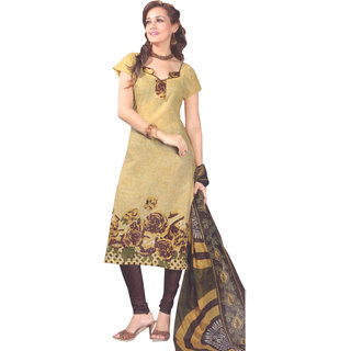 SGC Fawn Cotton Printed unstitched churidar kameez  V-8014