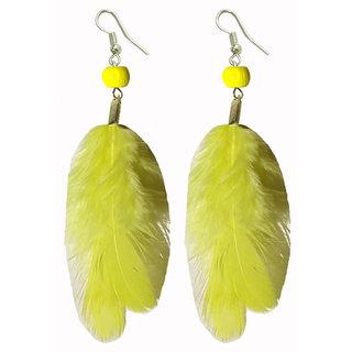 Shreya Collection Yellow Funky Beaded Feather Earrings - 853.5