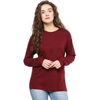 Hypernation Round Neck Maroon Color With Cotton Full Sleeve T-shirt For Women