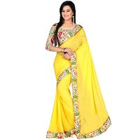 Bhuwal Fashion Solid With Printed Border Bhagalpuri Saree (With Printed Blouse)