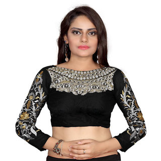 bhuwal fashion Designer Black color Cotton Unstiched Blouse-skype-black