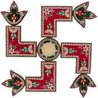 Itiha 3 In 1 Red Swastik Design Rangoli With Golden T Light Holder And Candle (15 Inches)