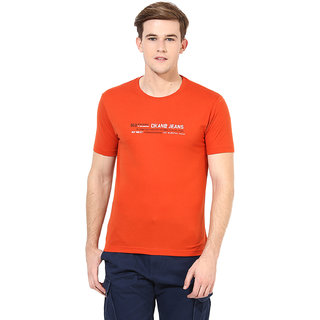 Okane Orange Half Sleeve Round Neck Casual Wear T-shirts