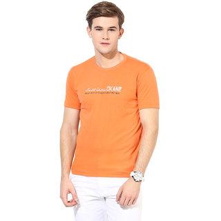Okane Orange Half Sleeve Round Neck Casual Wear T-shirts
