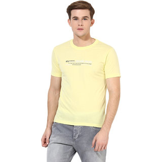 Okane Yellow Half Sleeve Round Neck Casual Wear T-shirts