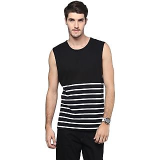 Hypernation Round Neck Black Color With Cotton Muscle T-shirt For Men